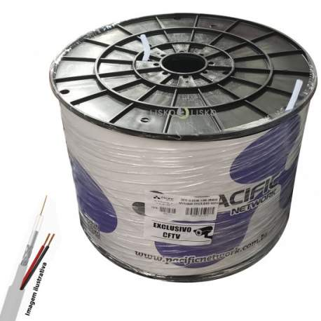 Cabo Coaxial Hd 40 Rolo 300 Mts Branco Pacific Network Muca3139